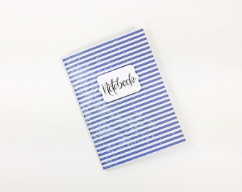 Notebook A6 journal 56 pages, blue white travel notes, diary, Bulletjournal, custom, designer paper, striped