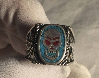 Biker Ring Skull Blue Black Enamel Rings sizes 11-12 & 13