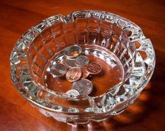 Heavy Faceted Clear Glass Ashtray! Vintage Ashtray, Executive Ashtray, Mid Century Ashtray, Crystal Cut Ashtray, 1960s, Thick Glass Ashtray
