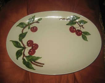 Orchard Ware Hand Painted 1950s Cherries Oval Ceramic Serving Platter California