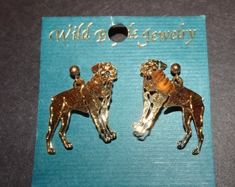 WILD BRYDE EARRINGS ** Vintage Hammered Metal Gold Tone Dangle Design Post Style ** Rare Canine Dog themed Rottweiler Breed ** Nice Details!