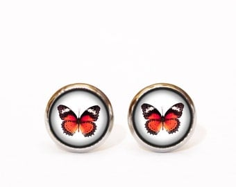 Red Stud Earrings, Butterfly Earrings, Minimal Earrings, Everyday Earrings, Simple Earrings, Gift for Her, Christmas Gift, Round Earrings UK