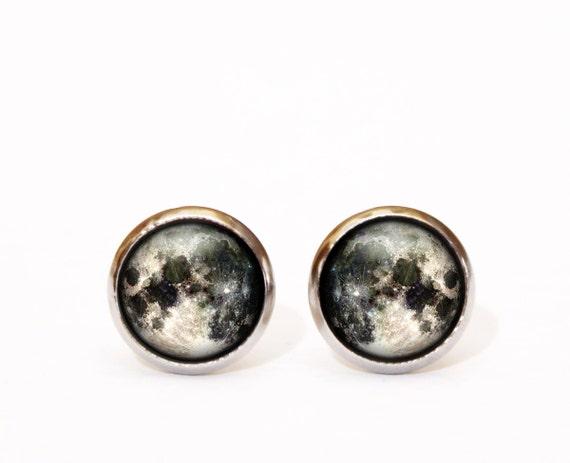 moon stud earrings tiny stud earrings space jewelry