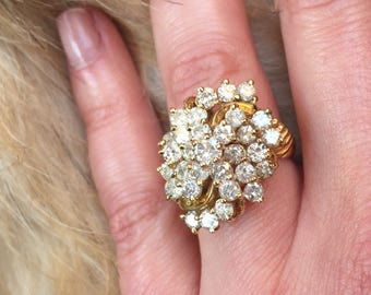 Vintage 14K Diamond Cluster Ring, Diamond Cluster Ring, Retro Cluster Ring, 14K Cluster Ring, Cluster Style Ring, Vintage Statement Rings