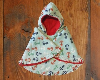 Red and Light Blue with Anchors Reversible Hooded Car Seat Poncho