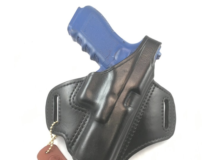 Glock 17 / 22 with retention strap - Handcrafted Leather Pistol Holster