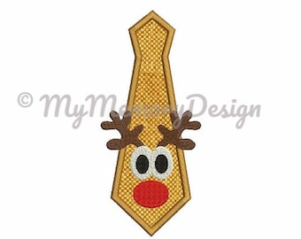 Reindeer embroidery design - Tie applique design - Christmas embroidery design - Santa embroidery - Machine embroidery - INSTANT DOWNLOAD