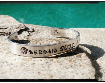 """Mermaid Soul - Hand Stamped Cuff - 'Mermaid Soul' with Hibiscus Flower//Starfish//Waves - 3/8"""" x 6"""" Wide Cuff//Beach Jewelry/Gift for Her/"""