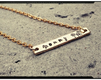 Gold Bar Necklace//Bracelet - Choose Your Style//Customize//Name/Date/Initial/Symbol - Gift for Her - Wife/Mom/Sister/Daughter/Friend