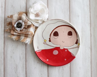 Vintage french children dinner plate: a little girl in her red dress