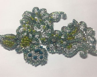 1 piece, Handmade embroidery green and silver appliques zardozi patch, sequin beads