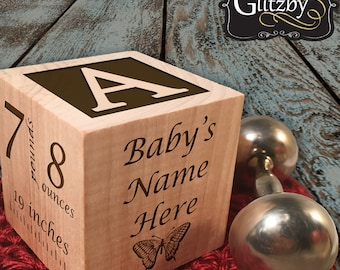 Birth Announcement - Personalized Wooden Baby Blocks for Boys and Girls, Baby Shower Gift, Baptism Gift, Infant Newborn Adoption Gotcha Day
