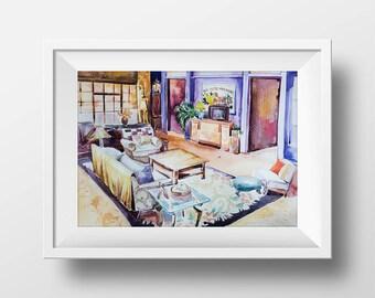Wall Art Friends TV Show Monica's Living Room Watercolor Print,90 Sitcom,Central Perk,Monica Chandler Ross Rachel Joey Phoebe,Friends Poster