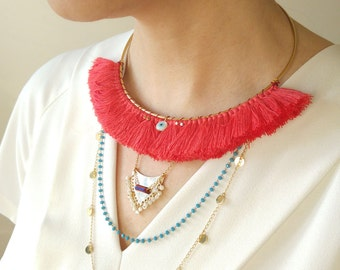 Plastron large tassels and chains multi-stranded original