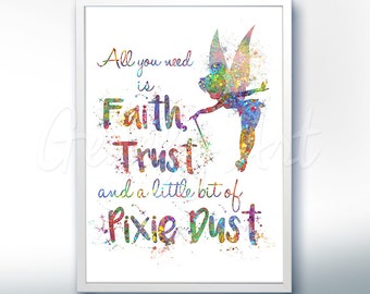Disney Tinkerbell Fairy Pixie Dust Watercolor Art Poster Print Wall Decor Artwork Home