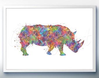 Rhinoceros Watercolor Art Print  - Watercolor Painting - Home Decor - Animal Watercolor Art Painting - Rhino Poster - House Warming Gift