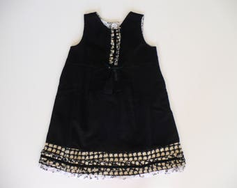 GIRLS BLACK PINAFORE, special occasion, birthday, party, holiday, black, girls dress, girls pinafore, childrens clothes, cordoroy, handmade