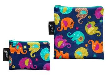 Ready to ship - Reusable Snack Bag Set - Elephants