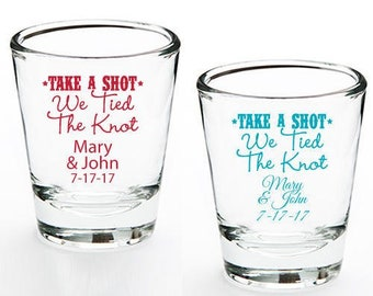 24 pcs Take a Shot We Tied The Knot Printed Personalized Shot Glass - Wedding Favor  (JM9832767-H5057)