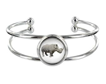 White Rhino Silver Plated Bangle in Organza Gift Bag