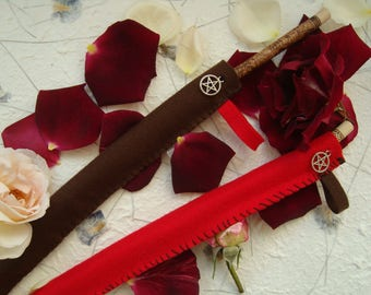 Felt wand case, witch's brown & red sheath, make to order, altar tool accessory, wicca, magic, pagan, witchcraft, ritual, spell,chakra, gift