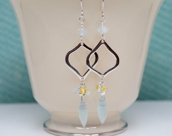 Aqua Chalcedony Aquamarine and Citrine Sterling Silver Earrings, Aqua and Yellow, March November Birthday, Elegant Dangle, Diamond Hoops