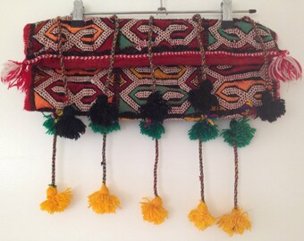Kuchi embroidered and pom-poms clutch boho gypsy