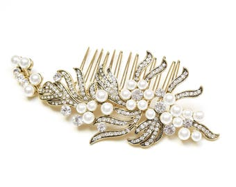 Greta Gatsby Inspired Bridal Hair Comb in Gold
