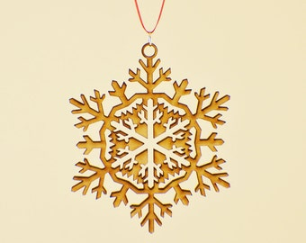 Laser Cut Wood Snowflake Ornament - Design #5 - 50% off