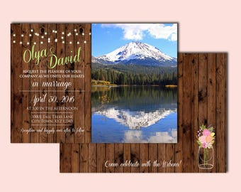 Rustic Wood Grain Wedding Invitation and Reply Postcard