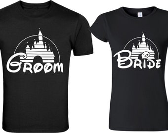 Disney castle Groom & Bride matching cute designs for newly married Couple T-Shirts Valentine