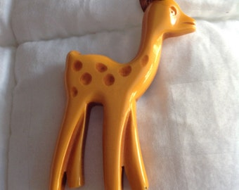 Vintage butterscotch carved Bakelite fawn Bambi pin
