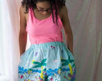 90s Retro Beach Shorts - Vintage Clothing