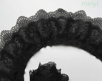 2 5/8 inch wide 3-layer Pleated  Lace Trim Gathered black price for 1 yard