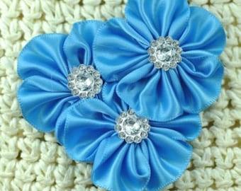 Triple Artificial Satin Ribbon Cluster blue Flowers+Rhinestones
