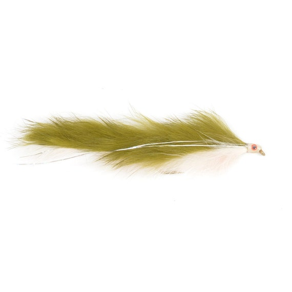 Double Bunny Streamer - Olive/White - Trout and Bass Fly Fishing Flies - Hook Size 4 - Hand Tied Trout Flies
