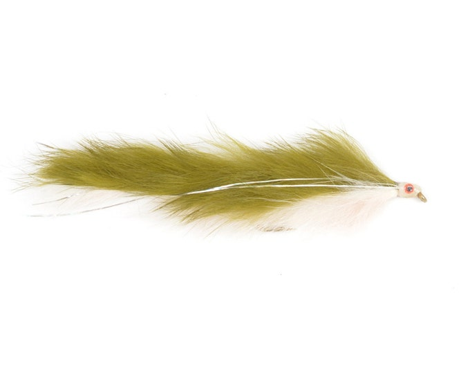 Hand Tied Trout Flies: Double Bunny Streamer - Olive/White - Trout and Bass Fly Fishing Flies - Hook Size 4