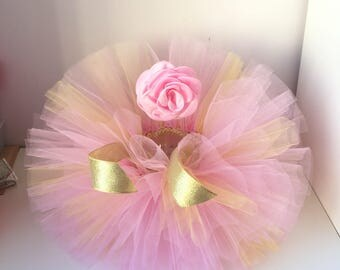 Tutu and Headband Set.Pink and Gold tutu ,Newborn Tutu set , Baby Tutu, Newborn Photo Prop, Photo Prop,Pastel tutu, Tutus for Children