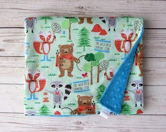 Minky Baby Blanket // Forest Friends // Woodlands Nursery // Baby Boy Blanket // Foxes, Bears, and Raccoons Blanket // Camping Nursery