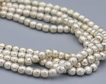 "105 Silver on Brass 8mm Padre Beads - 3mm hole - 28"" Strand"