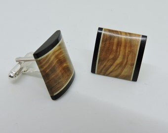 Olive Wood Cufflinks ,Olive Wood, Maple Wood,Ebony Wood, Silver plated Cufflinks