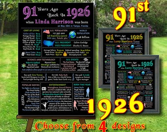 91st - 1926  Birthday Chalkboard, 1926 Poster, 91 Years Ago in 1926, 91st Birthday Gift, Personalized, Printable Digital file (#120)