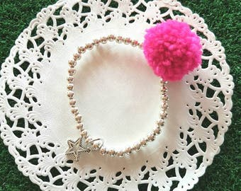 Violet Pom Pom Bangle and pendant