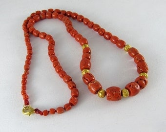 Antique coral and wax gold beaded necklace