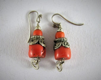 Antique coral and silver earrings - boho earrings