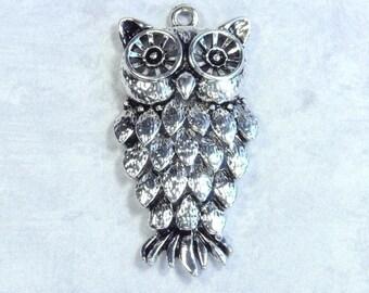 Antique Silver Owl Pendant Antique Silver Nature Pendant Silver Bird Pendant