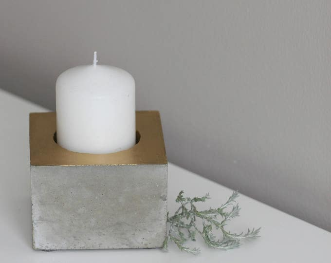 Hollow Cube Concrete Candle Holder | Concrete Planter | Grey & Gold | Urban | Industrial