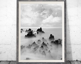 Cloud Photo Print, Black and White Cloud Photography, Wall Art, Modern Scandinavian, Nature, Printable Download, Large Poster, Wall Decor