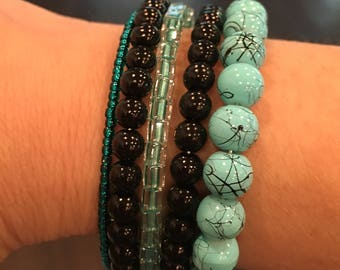 Funky Turquoise Fun Oval Memory Wire Bangle Bracelet