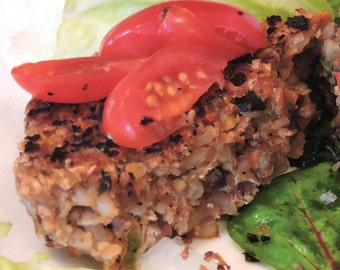 Gourmet Veggie Burger with Fresh Herbs, Beans, and Rice downloadable PDF or JPEG Eating Cleaner recipe file